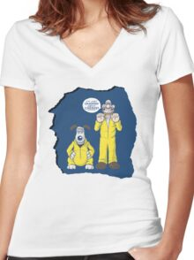 BREAKING BAD & WALLACE AND GROMIT MASHUP Women's Fitted V-Neck T-Shirt