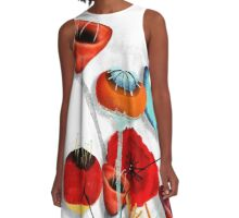 Ranunculus Poppies Anemone Bouquet A-Line Dress