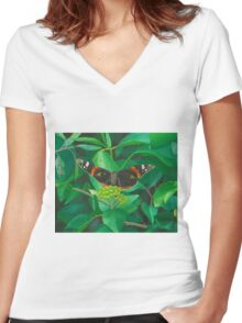 red admiral - green eyes Women's Fitted V-Neck T-Shirt