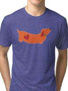 dachshund - orange Tri-blend T-Shirt