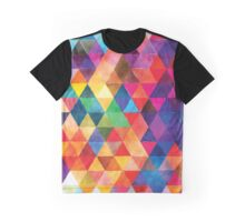 Watercolor Triangles Pattern Bright Colors Graphic T-Shirt