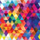 Watercolor Triangles Pattern Bright Colors by junkydotcom