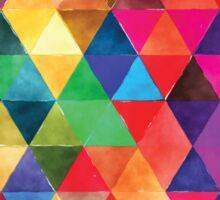 Watercolor Triangles Pattern Bright Colors Sticker