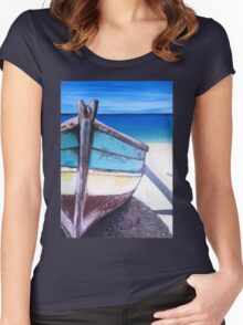 Beached bliss boat Women's Fitted Scoop T-Shirt