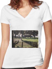 Sunrise Fenceline Women's Fitted V-Neck T-Shirt