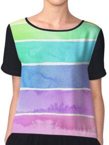 Summer Sorbet Rainbow Stripes Chiffon Top