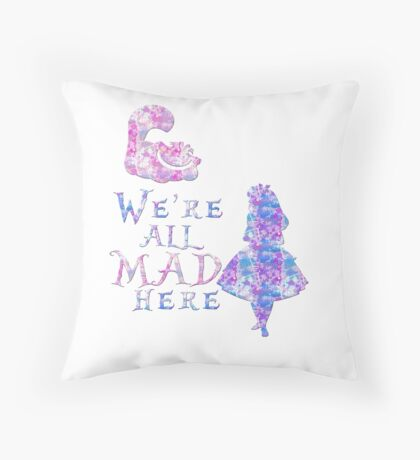 Pink and purple all mad Throw Pillow
