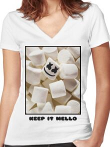 MARSHMELLO KEEP IT MELLO Women's Fitted V-Neck T-Shirt