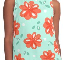 Cheerful Red Flowers Pattern Contrast Tank