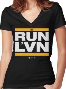 RUN LeVEON, RUN Women's Fitted V-Neck T-Shirt