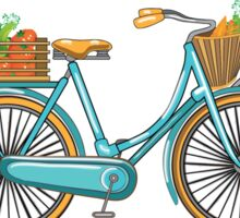 Postcard bike with a basket of vegetables Sticker