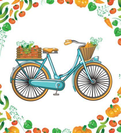Postcard bike with a basket of vegetables Sticker