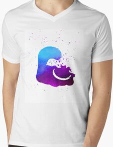 Purple splatter Cheshire Cat Mens V-Neck T-Shirt