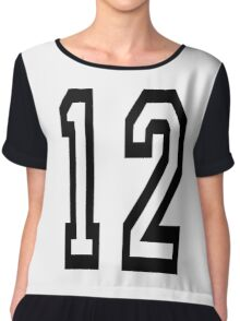 12, TEAM SPORTS, NUMBER 12, TWELVE, TWELFTH, Competition Chiffon Top