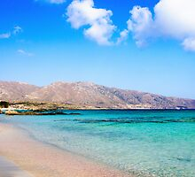 Elafonissi beach, with pinkish white sand and turquoise water, island of Crete, Greece by Stanciuc