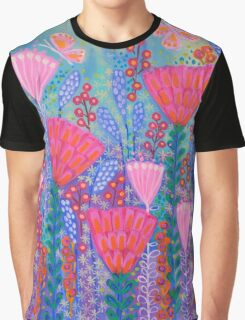 Flowers and Butterflies in Spring Time Graphic T-Shirt