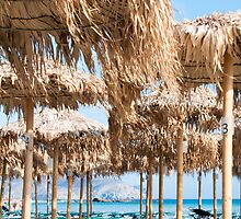 Umbrellas and sunbeds on Elafonissi beach, Crete, Greece by Stanciuc