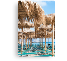 Umbrellas and sunbeds on Elafonissi beach, Crete, Greece Canvas Print