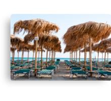 Umbrellas and sunbeds on Elafonissi beach, Crete, Greece Canvas Print