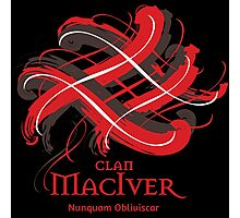 Clan MacIver - Prefer your gift on Black/White tell us at info@tangledtartan.com  Photographic Print