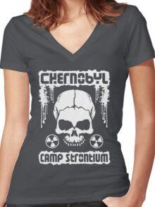 Chernobyl Strontium Skull Women's Fitted V-Neck T-Shirt