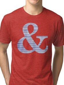 Letter & Ampersand Blue Watercolor Stripes Monogram Initial Tri-blend T-Shirt