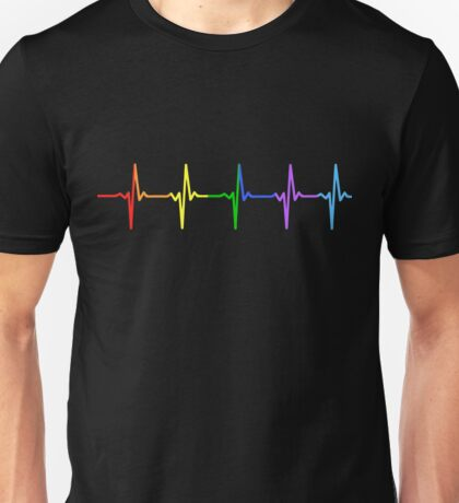 Rainbow Pulse Hearbeat LGBT Unisex T-Shirt