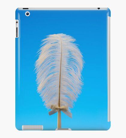 white feather on blue iPad Case/Skin