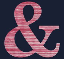 Letter & Ampersand Red Watercolor Stripes Initial Monogram  One Piece - Long Sleeve