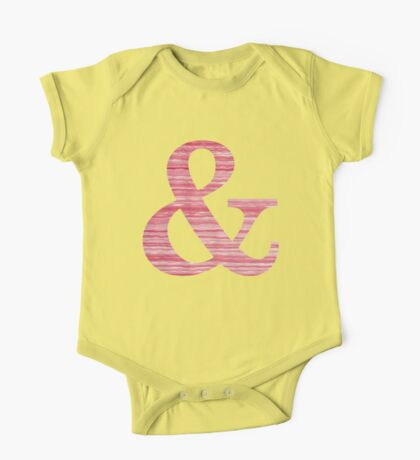 Letter & Ampersand Red Watercolor Stripes Initial Monogram  One Piece - Short Sleeve