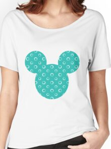 Mouse Turquoise Patterned Silhouette Women's Relaxed Fit T-Shirt