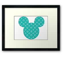 Mouse Turquoise Patterned Silhouette Framed Print