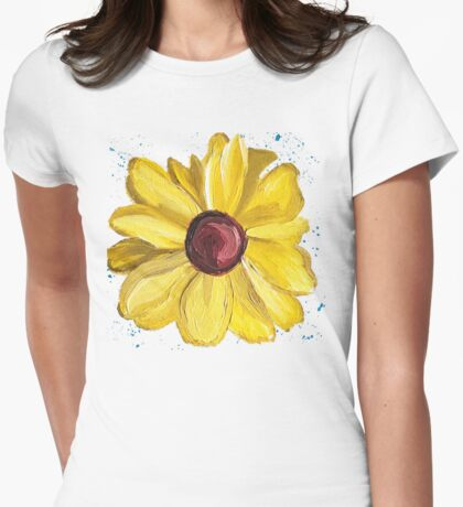 Yellow Daisy with blue Splatters Womens Fitted T-Shirt