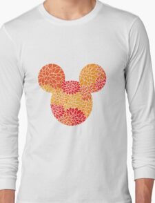Mouse Floral Sun Coloured Patterned Silhouette Long Sleeve T-Shirt