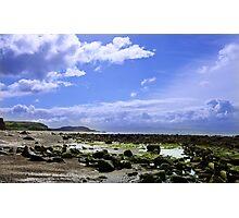 Rocky Beach and Blue Sky Photographic Print