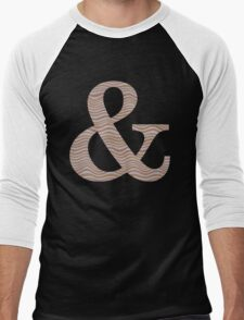 Letter & Ampersand Metallic Look Stripes Silver Gold Copper Men's Baseball ¾ T-Shirt