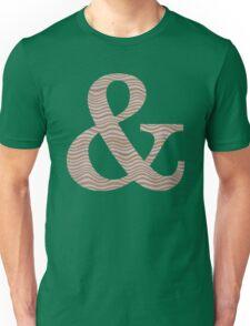 Letter & Ampersand Metallic Look Stripes Silver Gold Copper Unisex T-Shirt