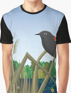 Red Wing Black Bird Perched on Reed in Wetland Marsh  Graphic T-Shirt