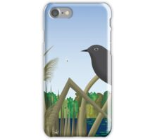 Red Wing Black Bird Perched on Reed in Wetland Marsh  iPhone Case/Skin