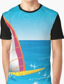 Tropical Lagoon Illustustration Graphic T-Shirt