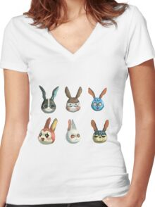 Animal Crossing Rabbits Women's Fitted V-Neck T-Shirt
