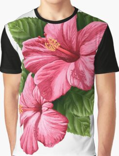 Hibiscus Flowers with Leaves Graphic T-Shirt