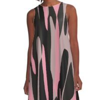 pink and black abstract camo A-Line Dress