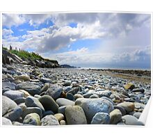 Pebble filled Beach in Wales Great Britain Poster
