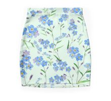 forget me not pattern in green background  Mini Skirt