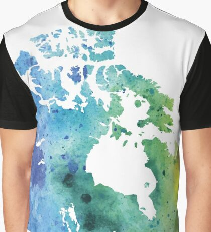 Map of Canada with A Watercolor Texture in Blue and Green Graphic T-Shirt