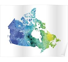 Map of Canada with A Watercolor Texture in Blue and Green Poster