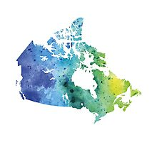 Map of Canada with A Watercolor Texture in Blue and Green Photographic Print