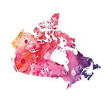 Map of Canada with A Watercolor Texture in Red, Pink, and Purple Photographic Print