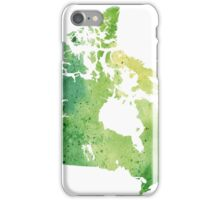 Map of Canada with A Watercolor Texture in Green iPhone Case/Skin